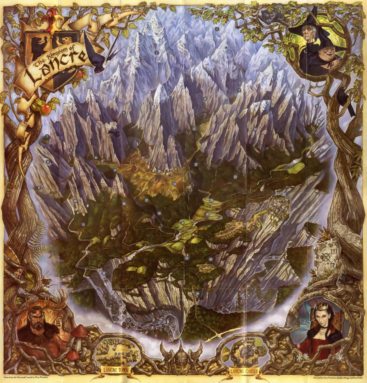 terry pratchett kingdom of lancre map full