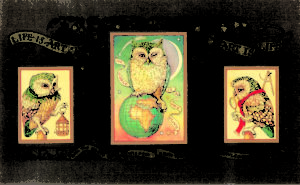 1997 Life is Art owl triptych
