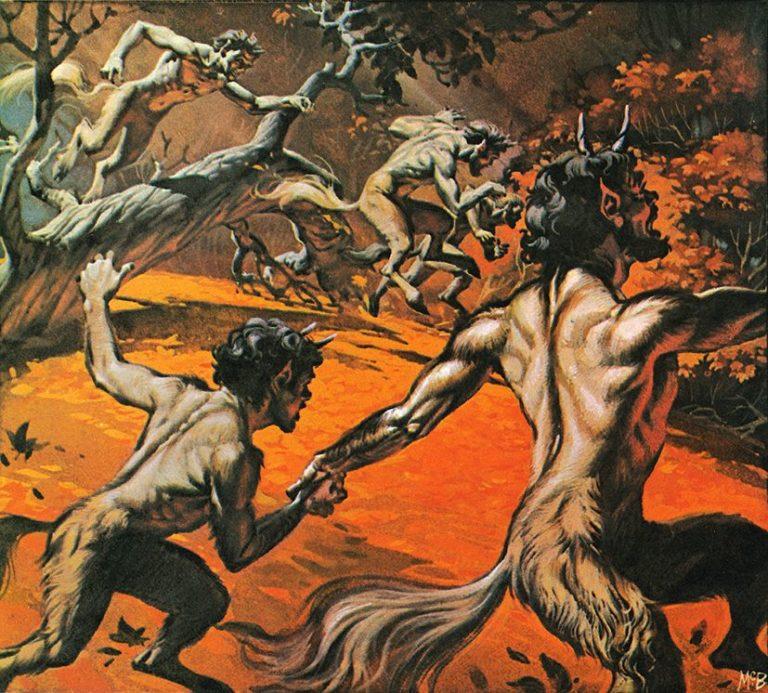 Angus McBride Beasts Satyrs illus