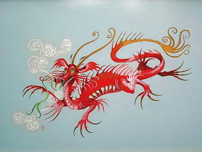 Chinese Dragon painting by Janet Johnstone
