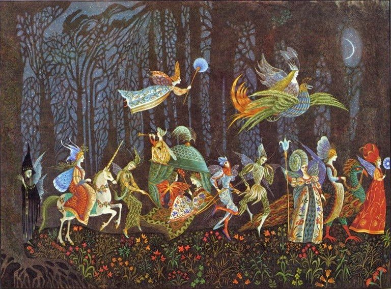 Errol Le Cain Thorn Rose illus Fairy Procession