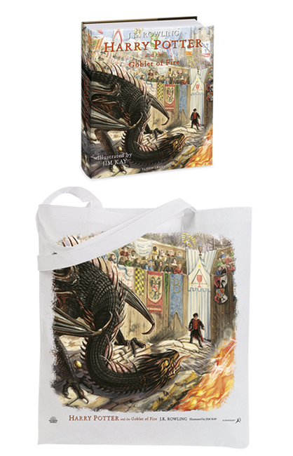 Illustrated Goblet of Fire with tote bag preorder swag