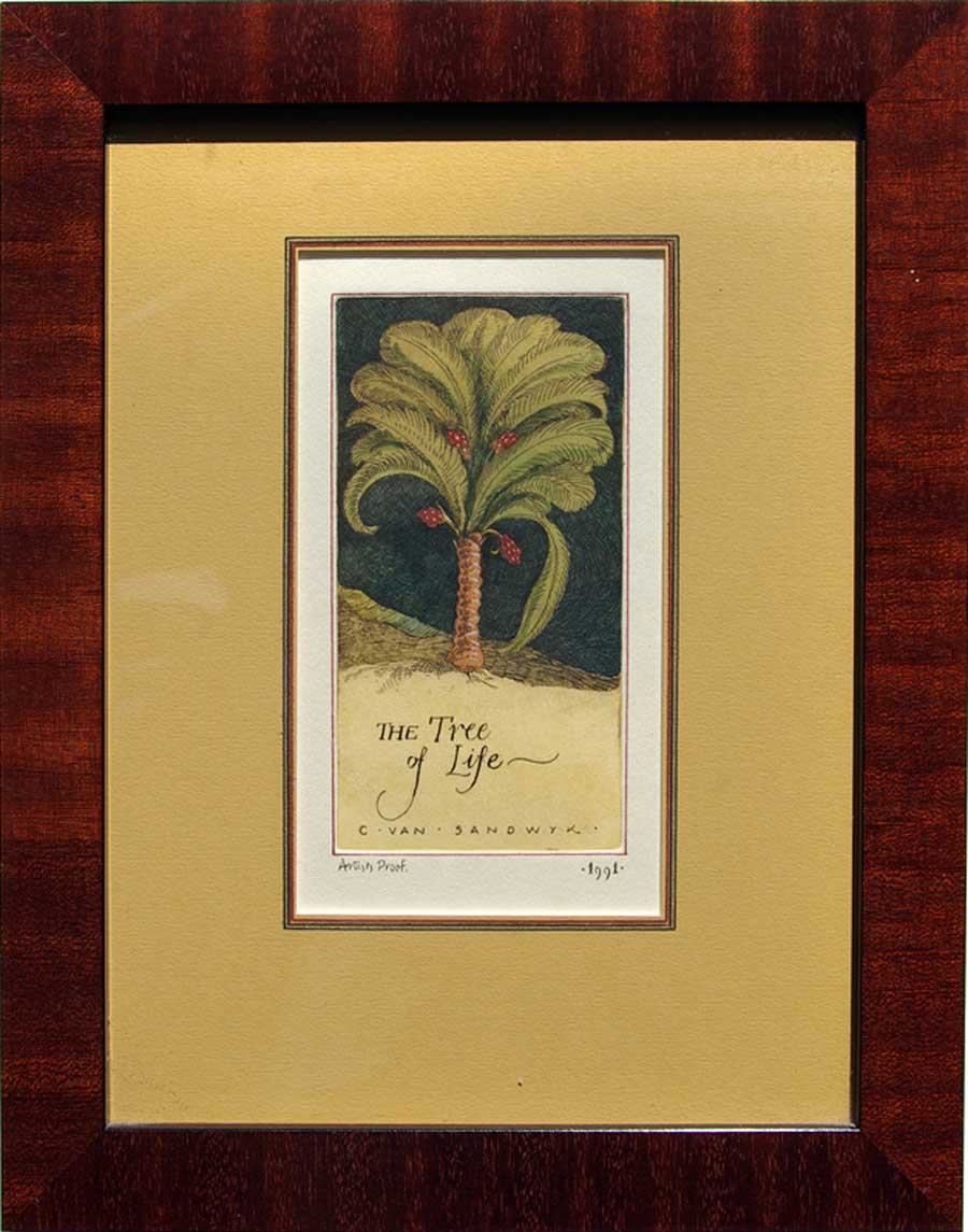 The Tree of Life, framed painted etching (Charles van Sandwyk, 1991)