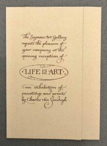 1997 CVS JP Invite Seymour Art Gallery Life Is Art