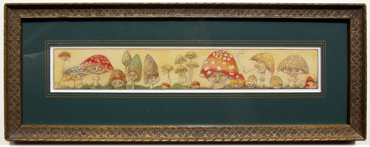 Mushroom Folk, framed watercolour (Charles van Sandwyk, 1997)
