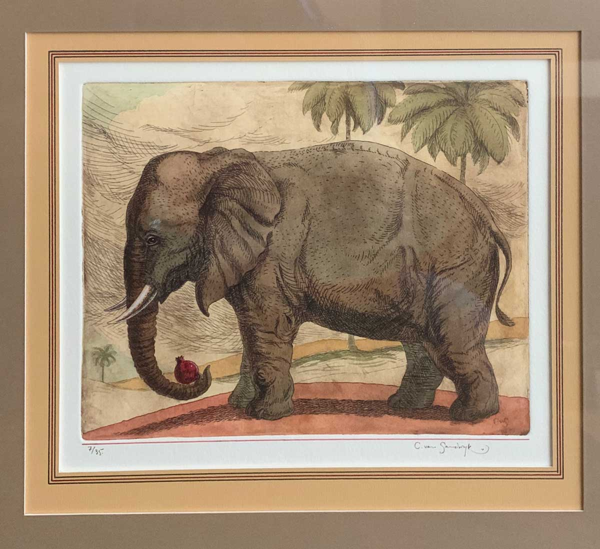 Elephant, painted etching (Charles van Sandwyk, 1999)