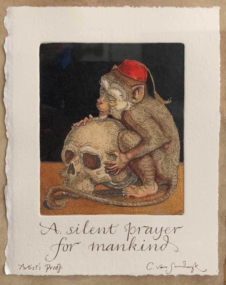 Silent Prayer [monkey and skull], etching from Animal Wisdom (Charles van Sandwyk, 1999)