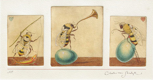 Three Bees, painted etching (Charles van Sandwyk, 2001)