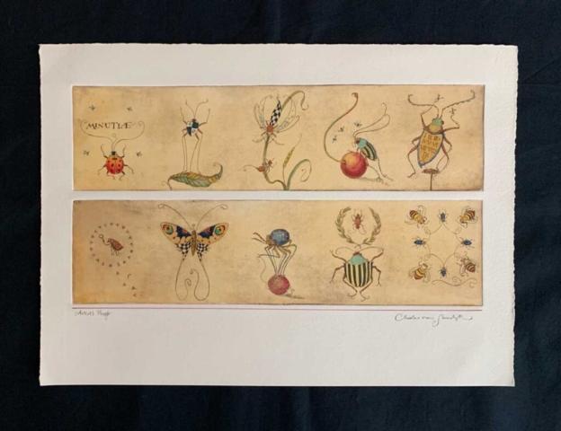 Minutiae [tiny fantastical beetles and bugs], painted etching (Charles van Sandwyk, 2001)
