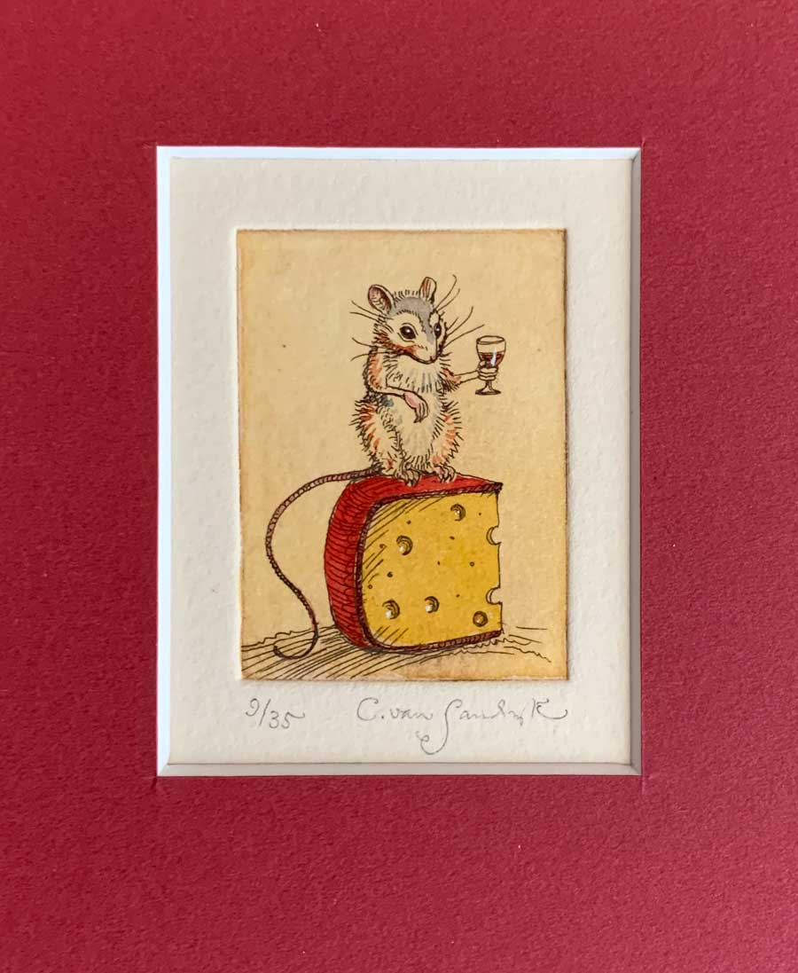 Mouse With Brandy and Cheese [and wine glass], painted etching (Charles van Sandwyk, 2002)