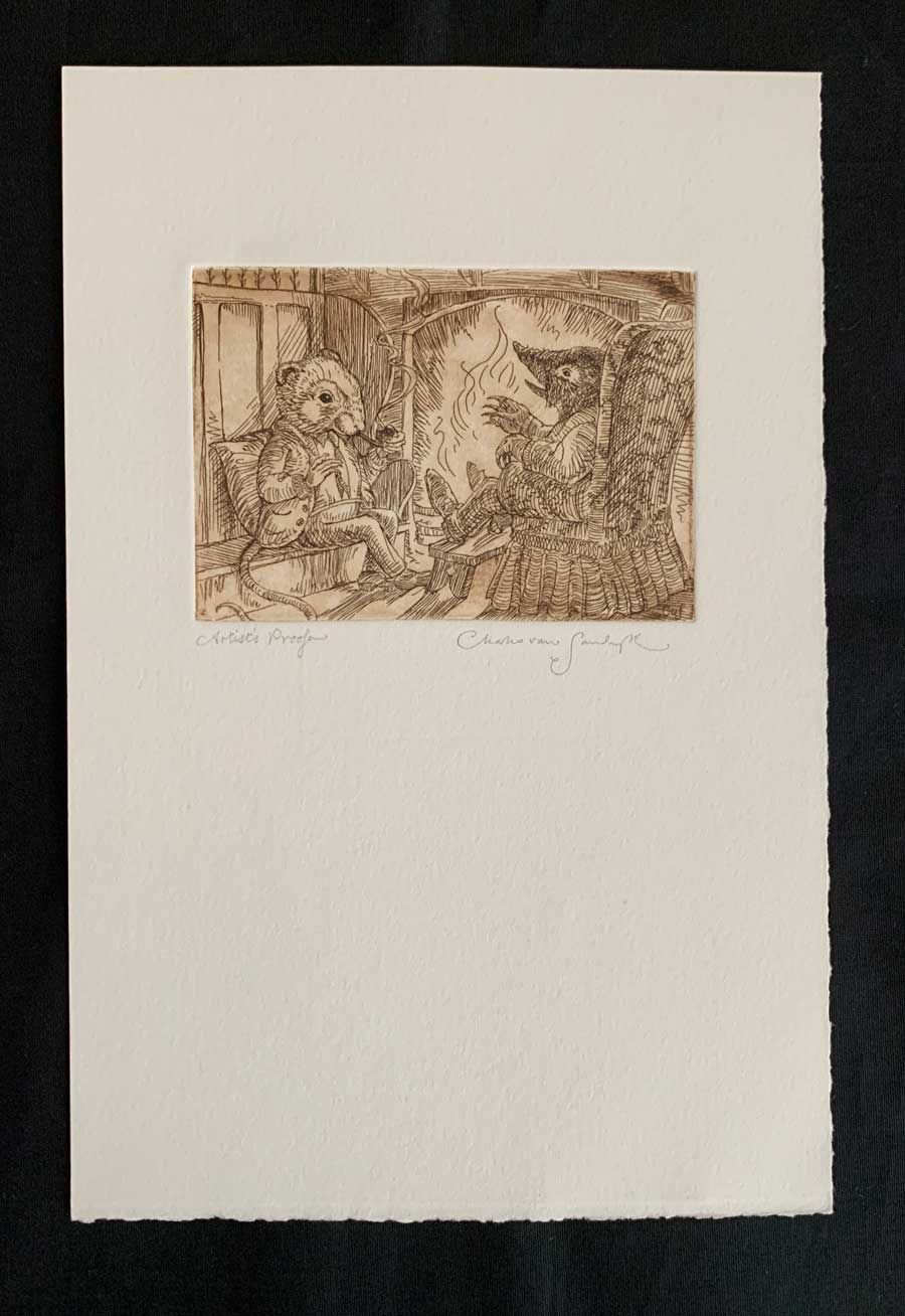 Fireside Chat, etching from 'Wind in the Willows' (Charles van Sandwyk, 2005)