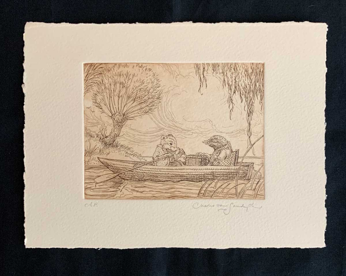 Ratty and Mole in Rowboat, etching from 'Wind in the Willows' (Charles van Sandwyk, 2005)