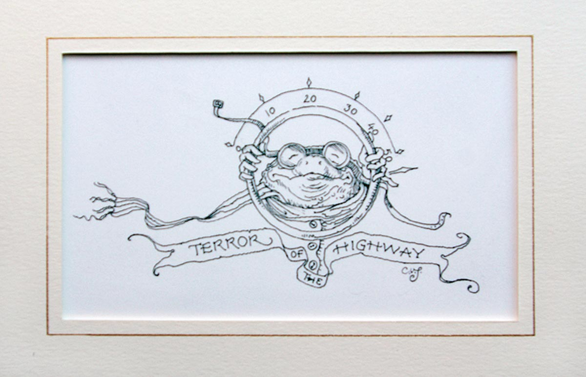 Terror of the Highway from 'Wind in the Willows' [Toad sketch], pen & ink (Charles van Sandwyk, 2005)