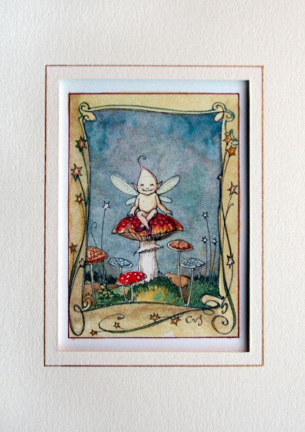 Fairy Mushroom watercolour [fairy on toadstool] (Charles van Sandwyk, 2010)