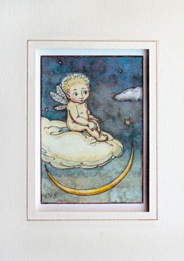 Elf Boy watercolour [fairy on cloud with moon] (Charles van Sandwyk, 2010)