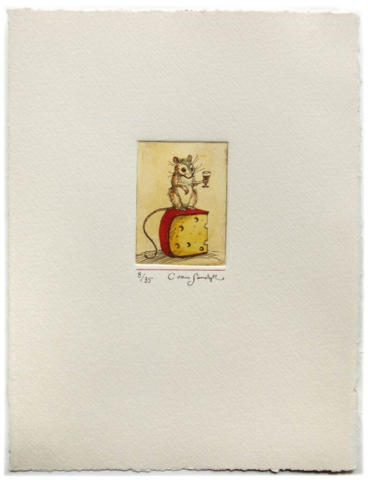 Mouse, cheese and brandy [mouse holding wine glass], painted etching (Charles van Sandwyk, 2011)