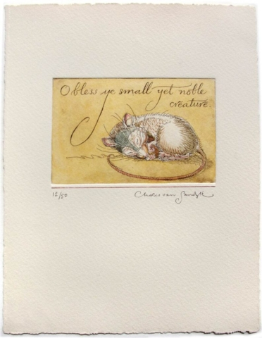 O bless ye small yet noble creature [sleeping mouse], painted etching (Charles van Sandwyk)