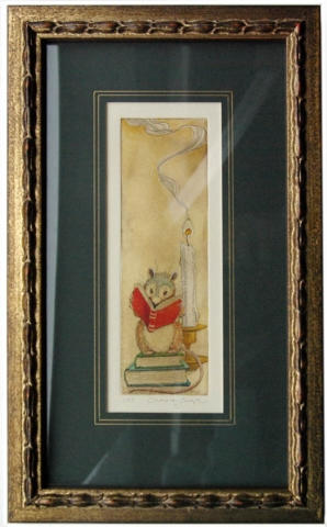 Literary Mouse, painted etching from 'I Believe' bookmark [reading mouse with books and candle] (Charles van Sandwyk, 2011)
