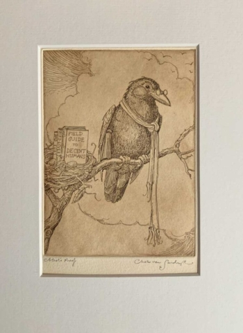 Wise Crow etching from 'I Believe' (Charles van Sandwyk, 2012)