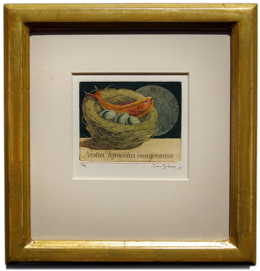 'Nestus Figmentus imaginarius' [fish and eggs in nest], framed painted etching (Charles van Sandwyk, 2012)