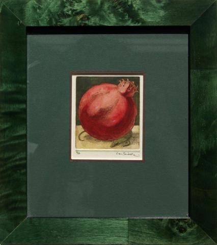 Pomegranate, painted etching (Charles van Sandwyk, 2012)