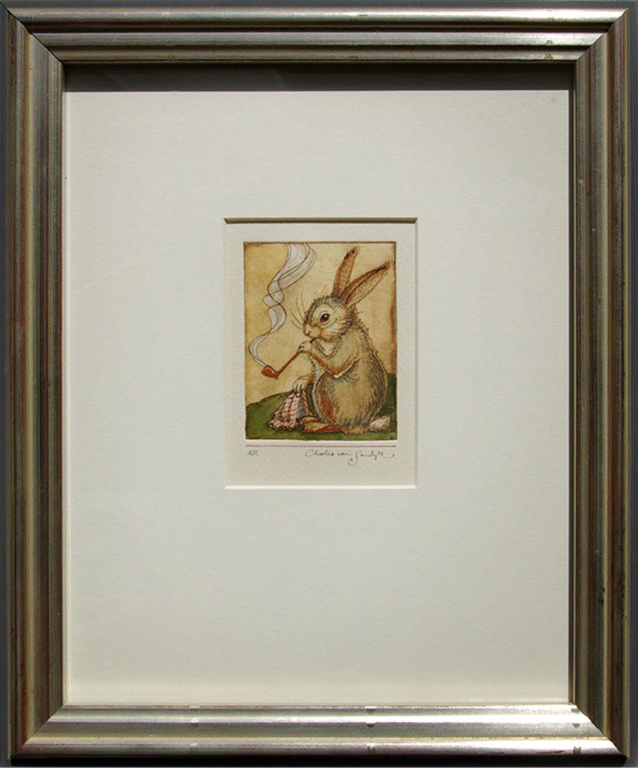 Smoking Rabbit, framed painted etching (Charles van Sandwyk, 2012)