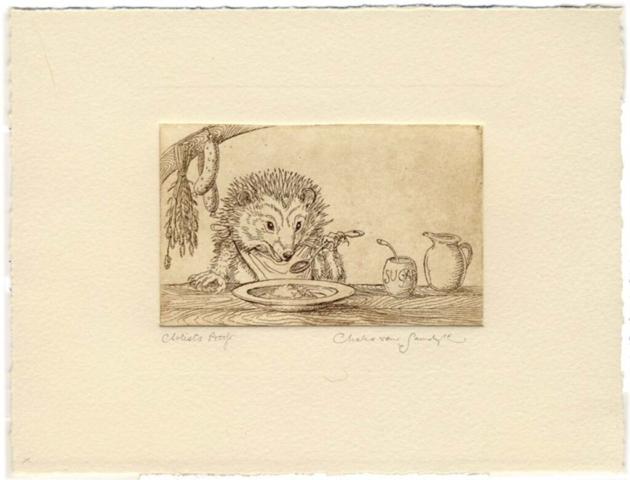 Hedgehog with porridge etching (Charles van Sandwyk, 2013)