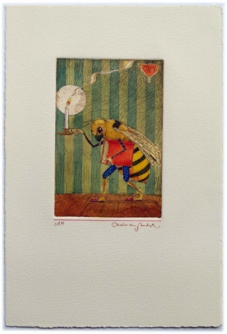 Bee Book and Candle, painted etching (Charles van Sandwyk)