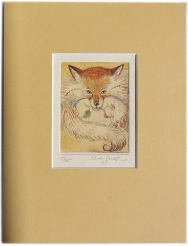 Fox with Mistletoe, painted etching (Charles van Sandwyk)