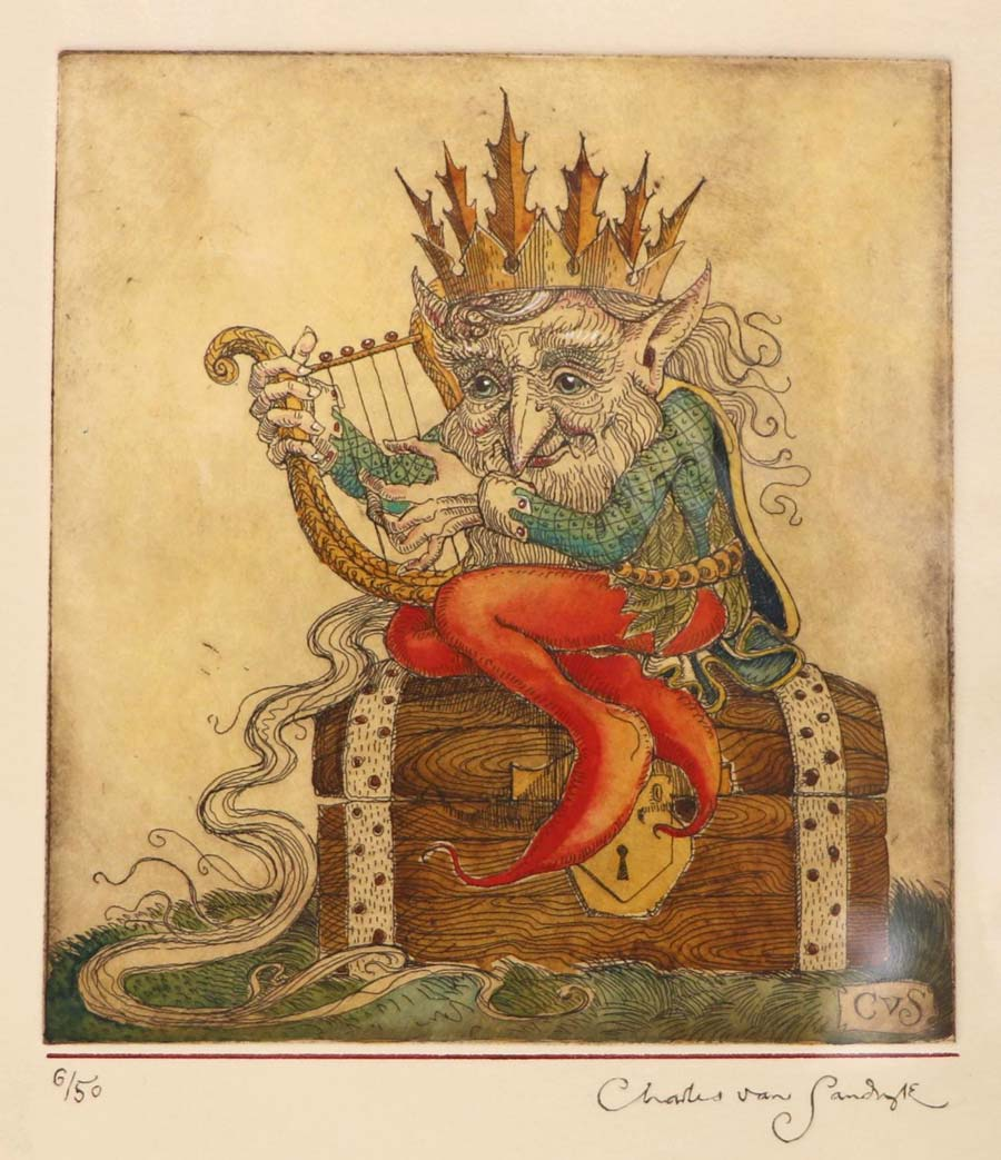 Gnome King with Harp [sitting on treasure chest], painted etching from The Gnome King's Treasure Song (Charles van Sandwyk)