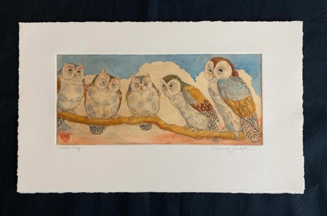 Owls on a Branch, painted etching (Charles van Sandwyk)